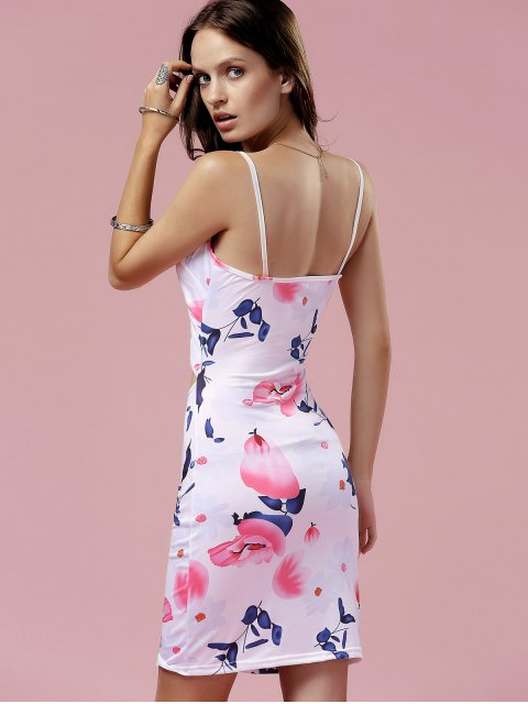 affordable Cut Out Cami Bodycon Floral Dress - WHITE S Mobile