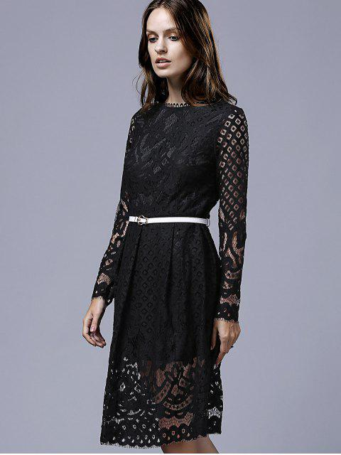 chic Lace Round Neck Long Sleeve A Line Dress - BLACK XL Mobile