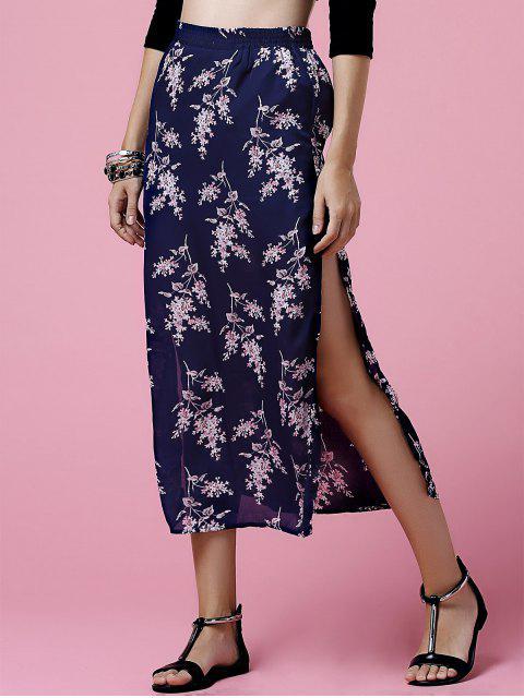 sale Side Slit Elastic Waist Tiny Flower Print Midi Skirt - DEEP BLUE M Mobile
