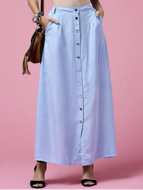 shop Light Blue High Neck Denim Skirt - LIGHT BLUE S Mobile