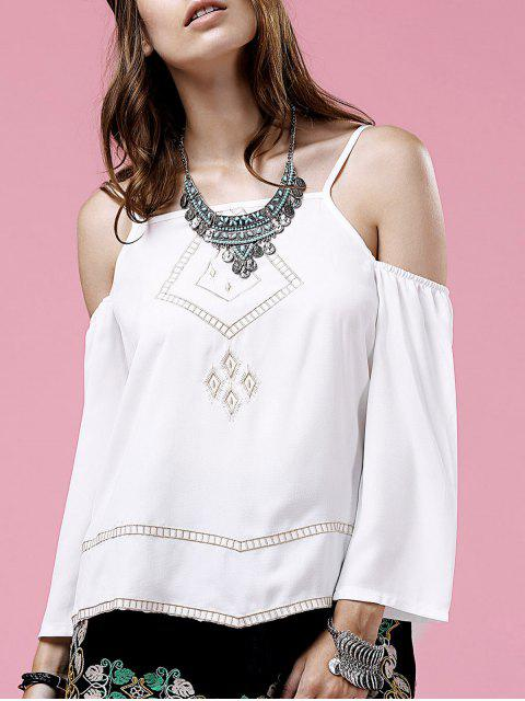 unique Embroidery Cami Long Sleeve Cold Shoulder Blouse - WHITE M Mobile