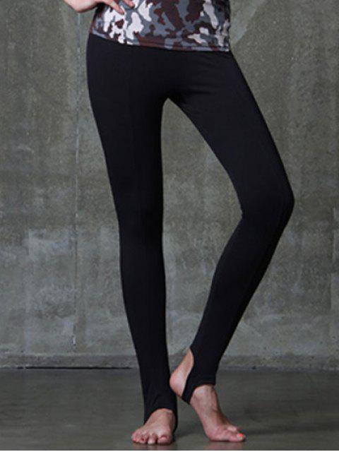 Aktiv-Art-elastischer Taille Solid Color Yoga-Hosen für Frauen - Schwarz M Mobile