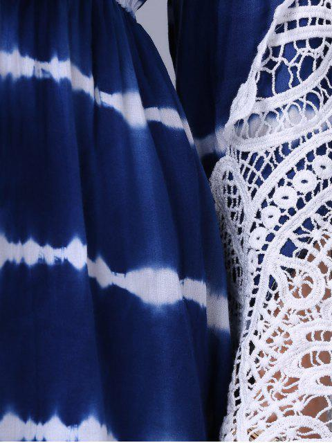 trendy Lace Splice Plunging Neck Long Sleeve Dress - BLUE M Mobile