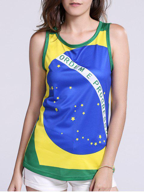 affordable Brazil Flag Print Tank Top - GREEN M Mobile
