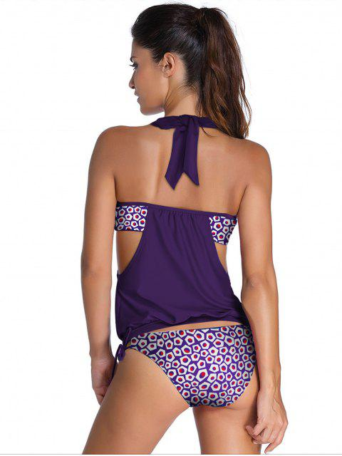 women Alluring Halter Print Hollow Out Tankini Set For Women - PURPLE 2XL Mobile