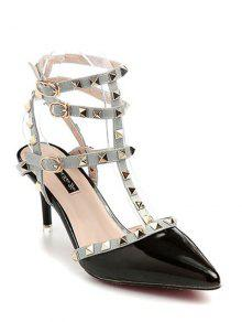 Buy Rivet Pointed Toe Stiletto Heel Sandals - BLACK 39