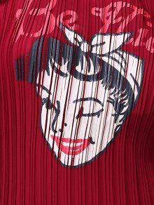 De Sin Redondo Cuello De Impresi Rojo Mangas 243;n Mujer Vino Gasa PITqd00x