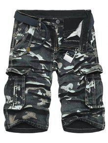 كامو طباعة متعدد جيب فضفاضة تناسب الساق مستقيم سستة يطير البضائع السراويل للرجال - أسود 30