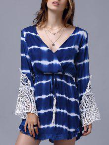 Lace Splice Plunging Neck Long Sleeve Dress - Blue L
