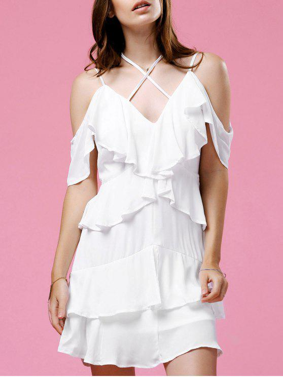 lady Strappy Ruffle White Dress - WHITE 2XL