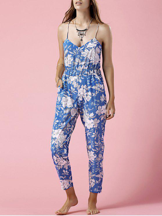 womens Blue Floral Print Cami Jumpsuit - BLUE XL