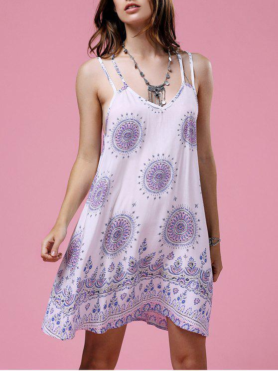 Ethnic Print Cami vestido sin espalda - Blanco L