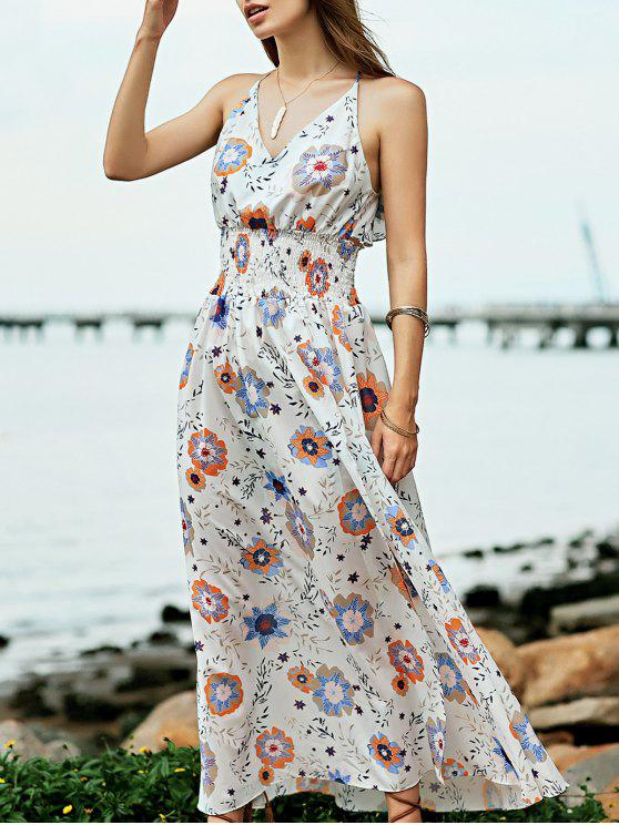 women Floral Print Beach Maxi Dress - WHITE S