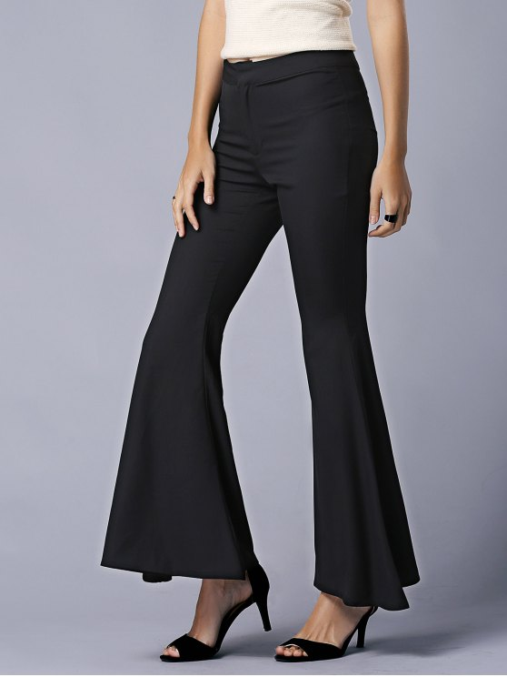 unique Black High Waist Flare Pants - BLACK XL