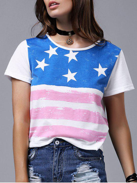T-shirt da bandeira de América Impressão de manga curta em torno do pescoço - Branco L