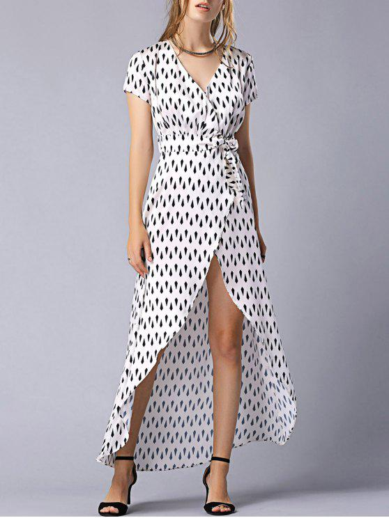 Imprimir manga Tie-Side V pescoço curto vestido maxi - Cor Mistura L