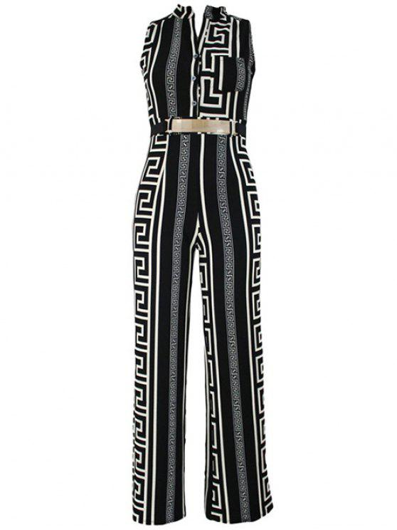 fancy Printed Stand Neck Sleeveless Jumpsuit - BLACK L