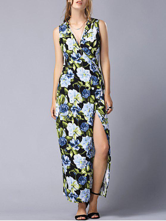 عالية الشق الخامس عنق الزهور التفاف فستان ماكسي - Colormix M
