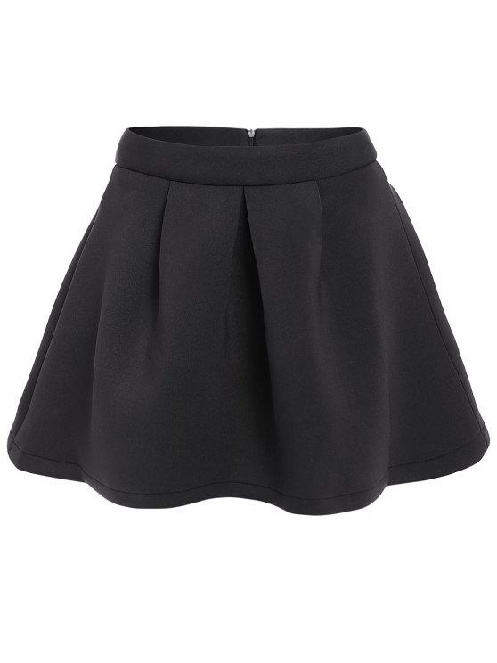 shops A-Line Pleated Solid Color Skirt - BLACK L