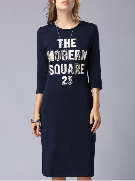 new Letter Patchwork Round Neck 3/4 Sleeve Dress - PURPLISH BLUE M