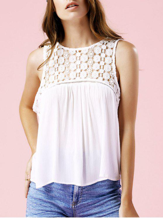 Tank Top Neck Solid Color Lace Spliced Round - Blanc S