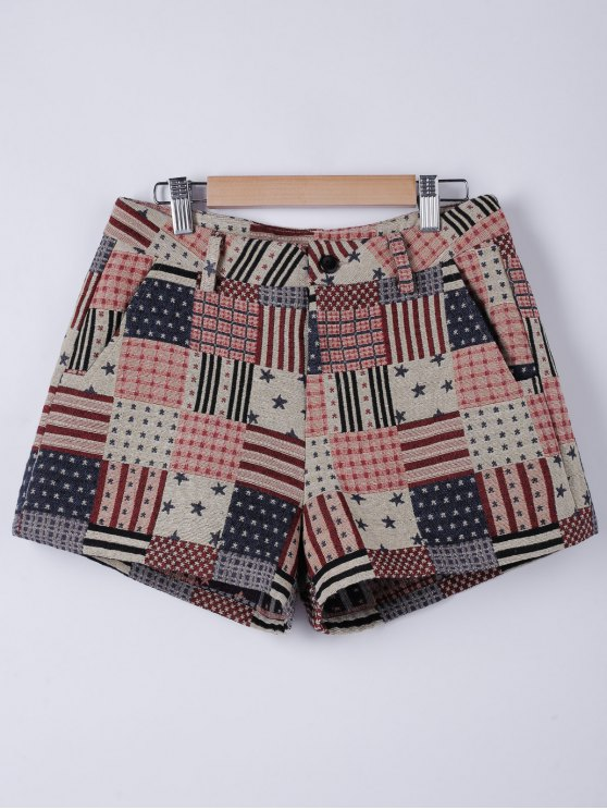 womens American Flag Shorts - WATERMELON RED L