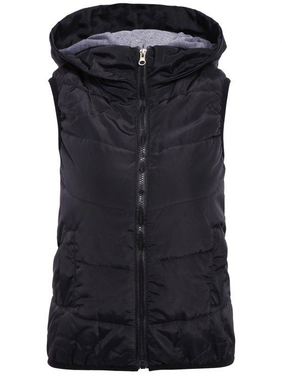 fashion Solid Color Hooded Zipper Waistcoat - BLACK S