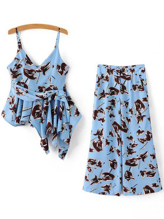 fancy Irregular Printed Cami Tank Top and High Waist Wide Leg Pants Twinset - BLUE M