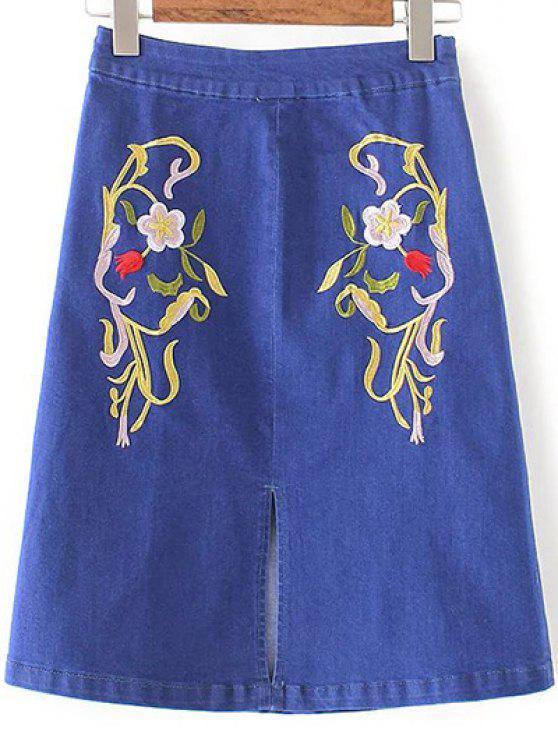 Slit Floral Bordado Denim Skirt - Jeans Azul S