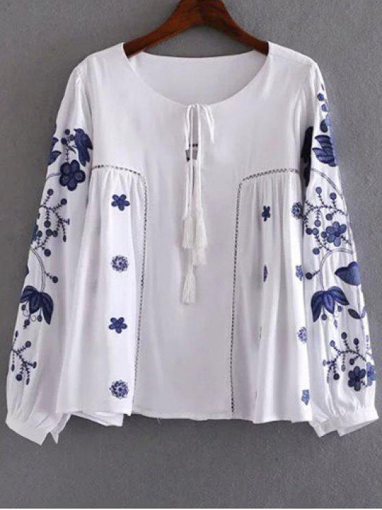 Ronda de bordado de manga larga cuello de la camiseta - Blanco S