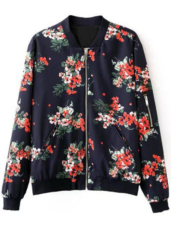 lady Floral Print Stand Neck Long Sleeve Zipper Up Jacket - PURPLISH BLUE S