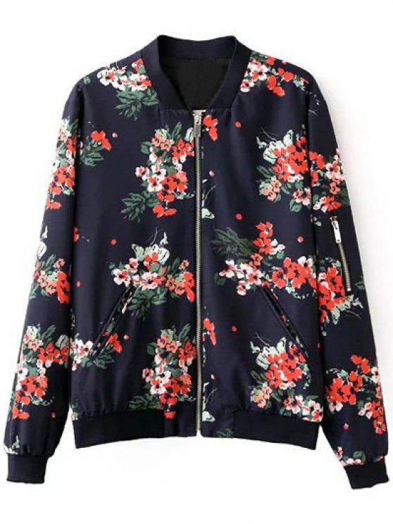 lady Floral Print Stand Neck Long Sleeve Zipper Up Jacket - PURPLISH BLUE S