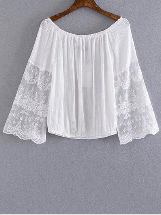 Empalmado de la cucharada del cordón del cuello recortada de la camiseta - Blanco S