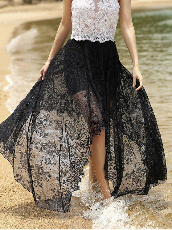 hot Full Lace Black High Waist Skirt - BLACK S
