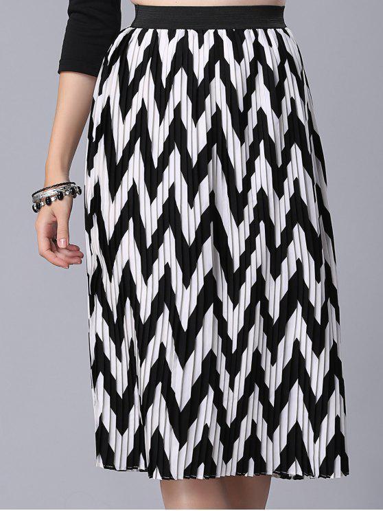 Falda de cintura alta del patrón de zigzag - Blanco y Negro M
