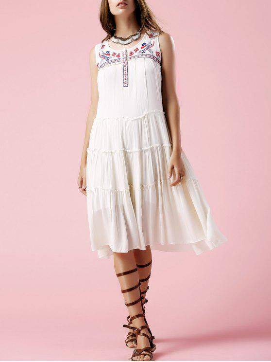 latest Floral Embroidery Scoop Neck Sundress - OFF-WHITE M