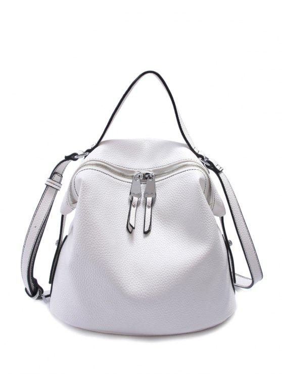 women's PU Leather Solid Color Zip Crossbody Bag - WHITE