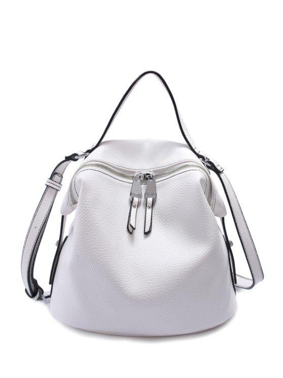 Sólido Color PU cuero cremallera del bolso de Crossbody - Blanco