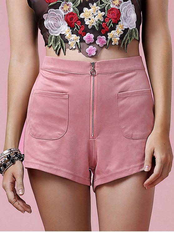 lady Exposed Zip Suede Shorts - PINK 2XL