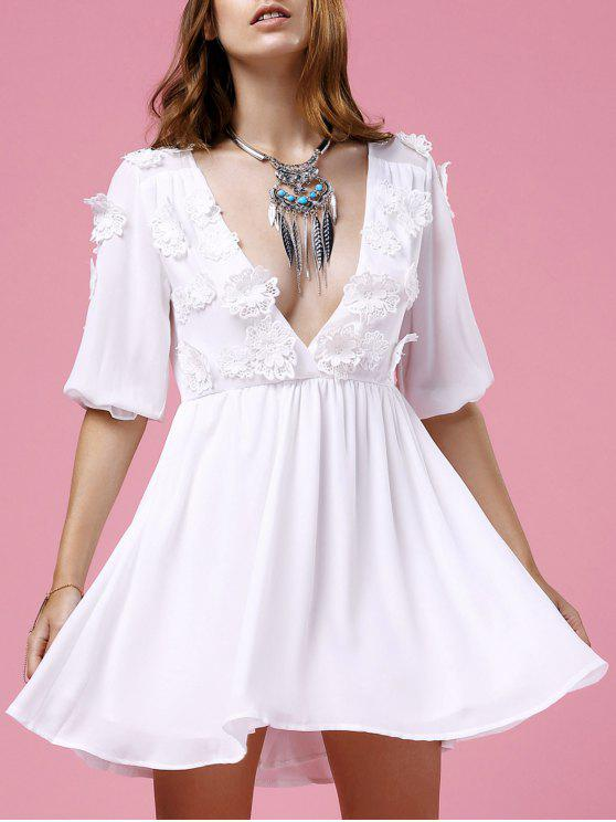 fancy Flower Patchwork Plunging Neck 3/4 Sleeve Dress - WHITE S