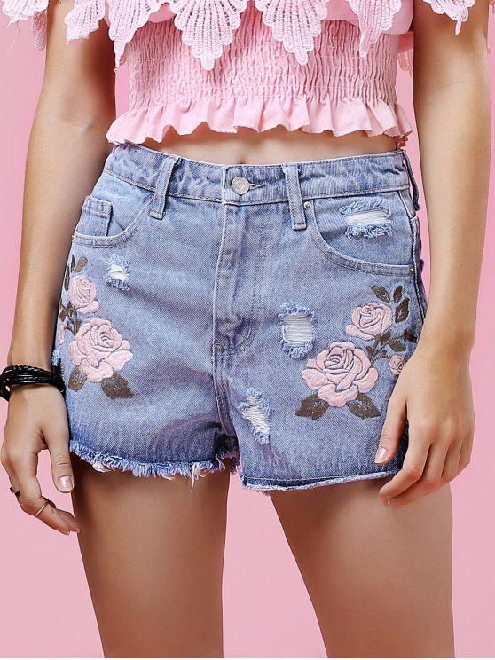 chic Floral Embroidery Ripped Denim Shorts - LIGHT BLUE M