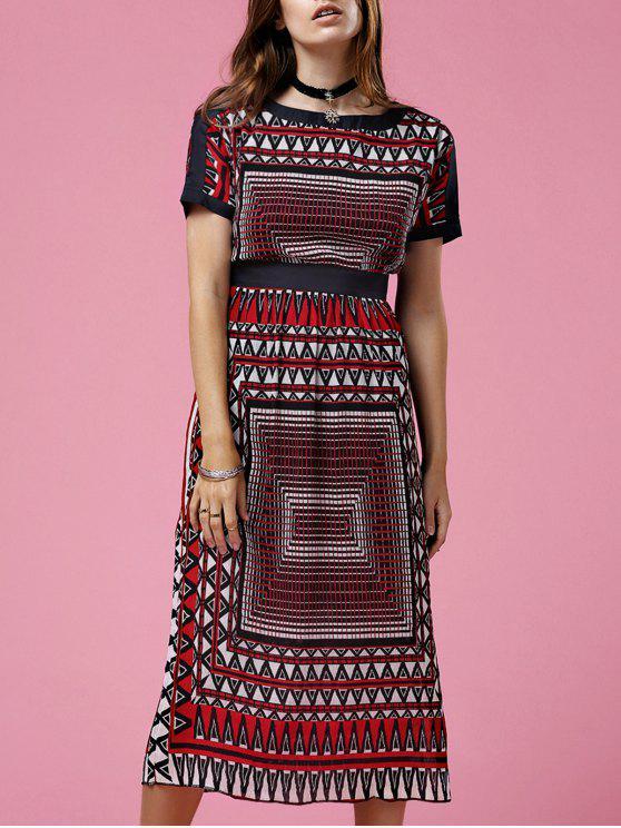 Impreso de cuello redondo manga corta vestido de talle - Colormix M