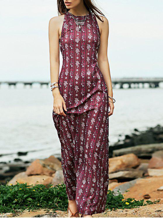 online Open Back Evening Gown in Plum - PURPLISH RED XL