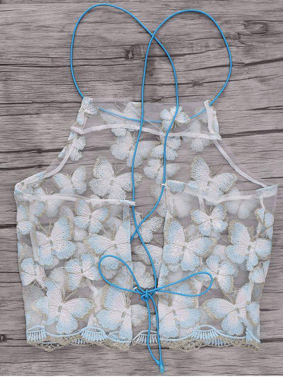 Sin respaldo de la mariposa del bordado de correas espaguetis Camisa corta - Blanco Un tamaño(Montar tam