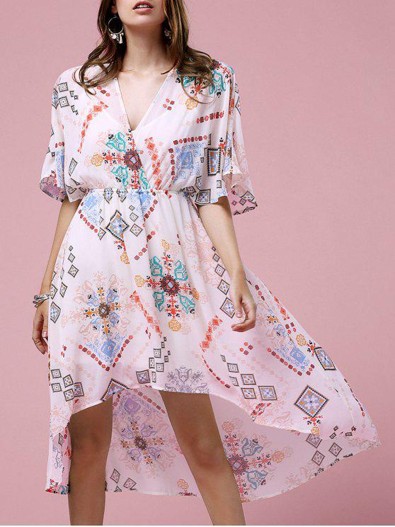 Cross-Over robe en mousseline de soie - Blanc Cassé M
