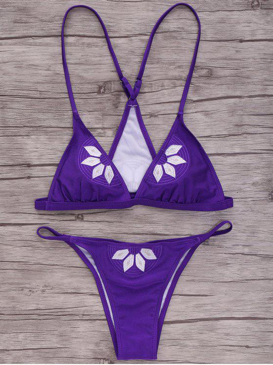 shop Embroidered Cami Bikini Set - PURPLE S