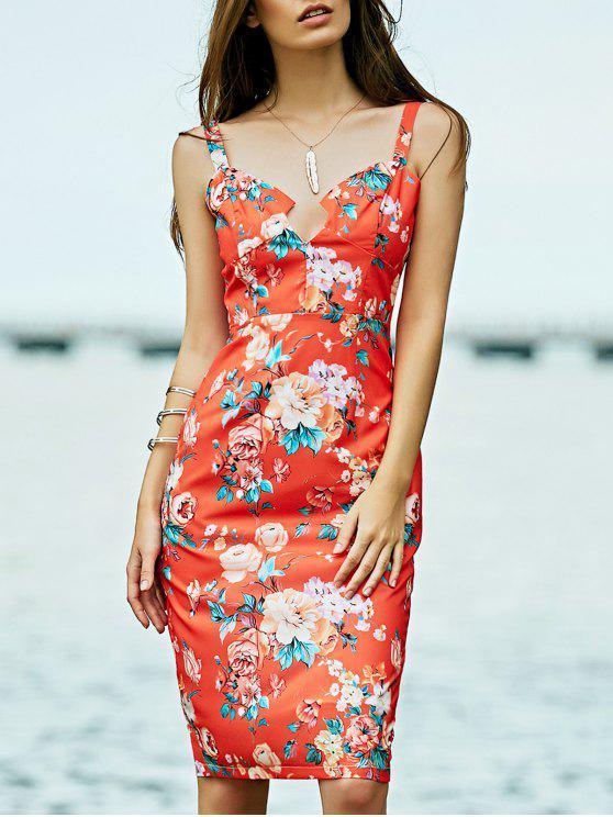 outfit Low Cut Bodycon Midi Dress - ORANGE RED L