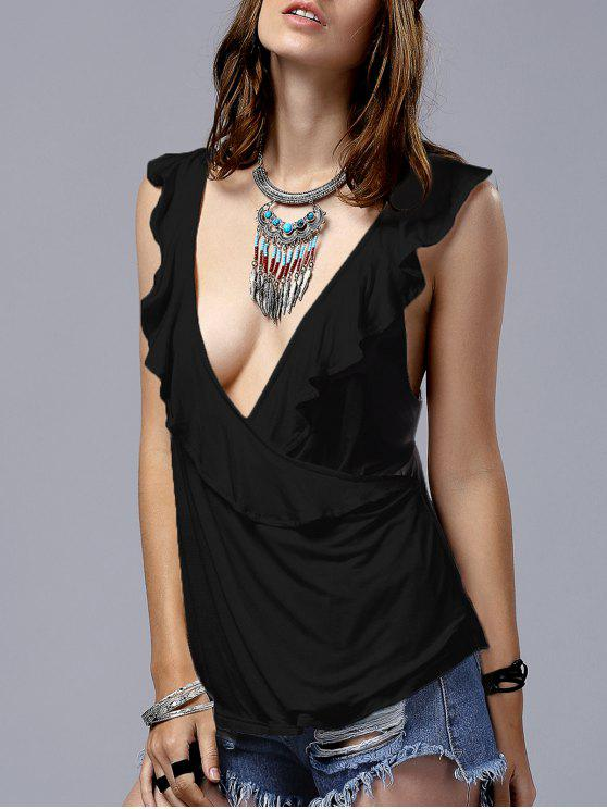 fancy Low Cut Frilled Tank Top - BLACK XL