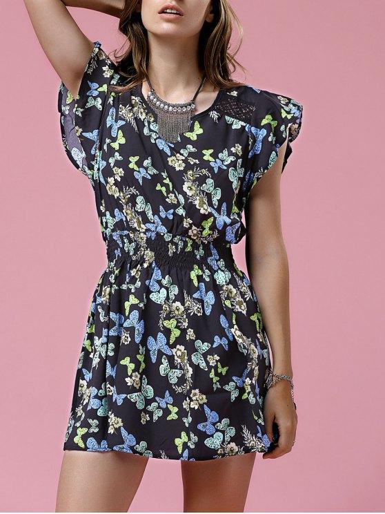 shops Print Round Neck Waisted Mini Dress - BLACK M