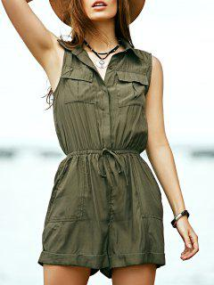 Solid Color Turn Down Collar Sleeveless Romper - Army Green S